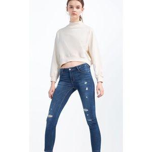 Zara Trafaluc Jeans Skinny Distressed Size 8